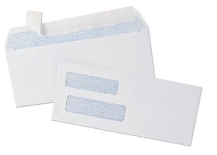 100 Double Window Check Envelopes, Self Seal Security Envelope - Compatible for QuickBooks