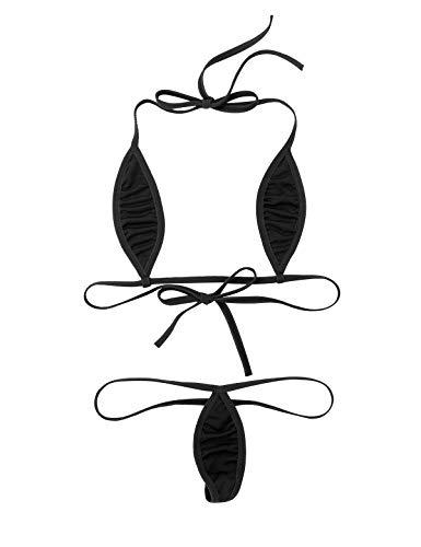 CHICTRY Damen Mini Bikini Sets Triangel Bikinis Schwimmanzug Badeanzug Lingerie Babydoll Teardrop Form BH und Micro String Schwarz Einheitsgröße