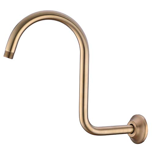 Best Price BESTILL Stainless Steel S Shape High Rise Shower Arm and Flange, Champagne Bronze