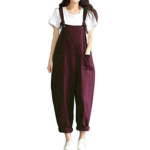 Damen Frauen Retro Latzhose Lässig Insgesamt Baggy Jumpsuits, Morbuy Leinen Taschen Playsuit Hose Lange Harem Casual Overalls Täglichen Trousers Pants Schwangere Hosen (M,Weinrot)