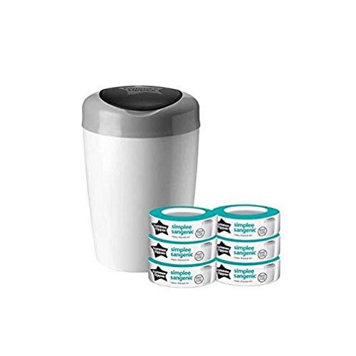 Tommee tippee - Pattumiera mangiapannolini Simplee Sangenic, protezione antiodore e antigermi, con 6 ricariche, colore: bianco e grigio