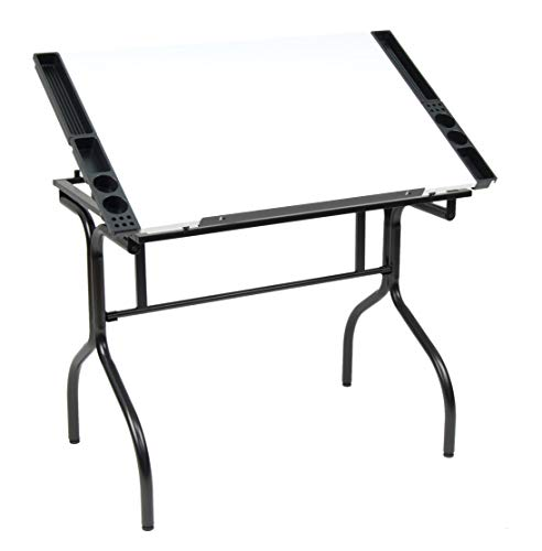 Studio Designs Folding Modern Top Adjustable Drafting Table Craft Table Drawing Desk Hobby Table Writing Desk Studio Desk, 35.25' W x 23.75' D, Black / White