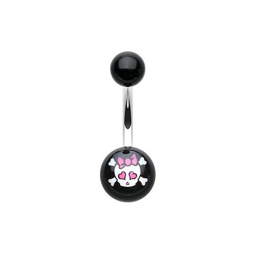 Cute Emo Skull Acrylic Logo Belly Button Ring