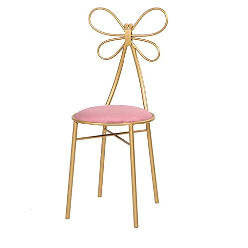 XNLIFE Dressing Table Kruk Flanellen Make-up Stoel Vanity Stoel Gestoffeerde Piano Stoel met Gouden IJzeren Metalen Benen en Antislipmat, Zittend Hoogte 46cm Make-up Vanity Kruk