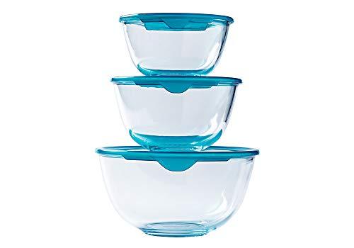 Pyrex® - Prep & Store - Lot de 3 bols en verre résistants avec couvercle (0,5L - 1L - 2L) - Sans BPA