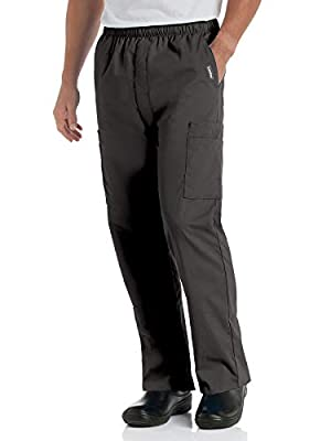 Landau Men's Comfort 7-Pocket Elastic Waist Drawstring Cargo Scrub Pant, Black, Small Short