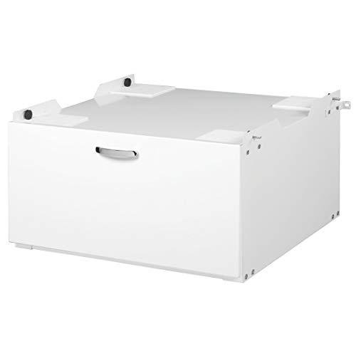 Xavax Trockner-/Waschmaschinen-Untergestell mit Schublade, 61x60cm (Unterbau-Sockel mit Schubfach, 33,2cm Höhe) Waschmaschinen-Podest/Erhöhung weiß