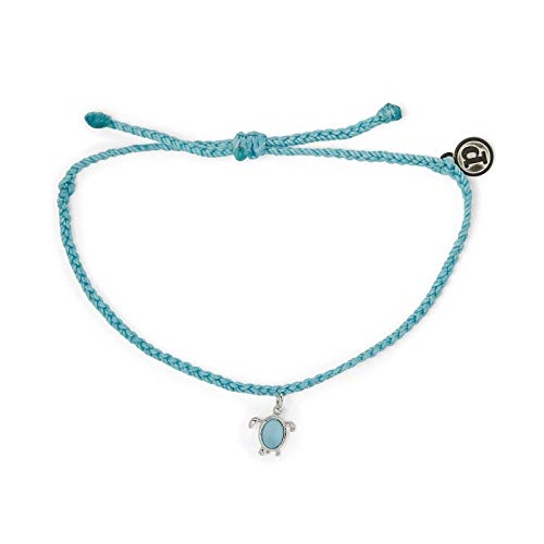 Pura Vida Silver Sea Turtle Wildlife Charity Bracelet - 100% Waterproof, Adjustable Band - Coated Brand Charm, Blue