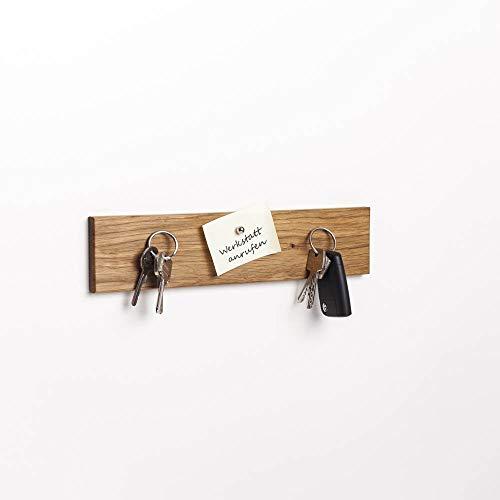 WOODS Schlüsselbrett Holz magnetisch I Schlüsselablage I magnetische Messerleiste I Wanddekoration aus Holz handgefertigt in Bayern I Schlüssel Aufhänger Home I Schlüsselhalter (Eiche, 30 cm)