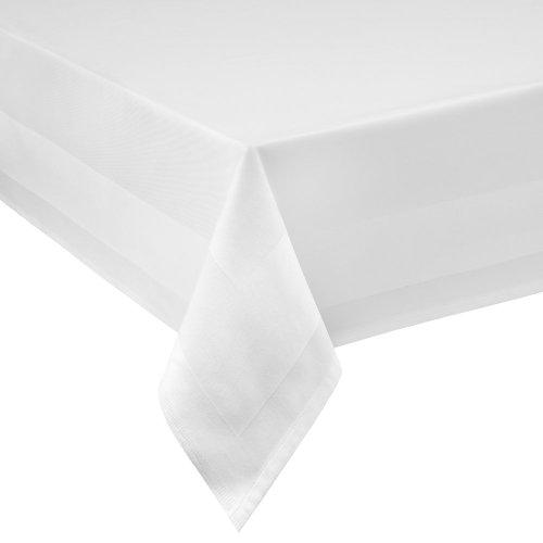DecoHomeTextil Damast Tischdecke weiß - 130 x 250 cm - bei 95°C waschbar Feinste Vollzwirn 100% Baumwolle mercerisiert aus hochwertigem Ringgarn