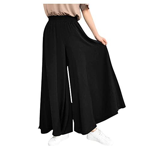 Dasongff Pantalon Large Fluide Femme Grande Taille Baggy, Palazzo Pantalons Taille élastique Couleur Unie Ample Casual Été Taille Haute Pantalon Droit Trousers de Plage Décontractée
