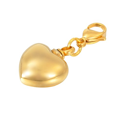 HOUSWEETY Charms Gold Heart Clip on Charm Lobster Clasp for Thomas Sabo Style fit Link Bracelet Necklace