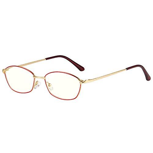 Moda para Mujer Gafas De Lectura con Luz Anti-Azul Retro Marco Ovalado Lente De Resina De Alta Definición Lupa Dioptría +1.0 A +3.0,Rojo,+2.50