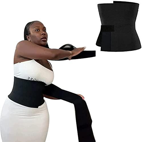 Entrenador De Cintura Con Vendaje, Cinturón Envolvente Invisible Ajustable Cinturón De Soporte De Cintura Lumbar, Tirantes De Espalda Cómodos Y Ajustables Para Mujeres,Negro,One Size fits Everyone