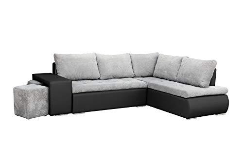 mb-moebel Ecksofa mit Zwei Hocker Sofa Eckcouch Couch mit Schlaffunktion und Bettkasten Ottomane L-Form Schlafsofa Bettsofa Polstergarnitur - BELGRAD (Ecksofa Rechts, Hellgrau + Schwarz)