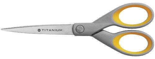 Westcott Titanium Super Softgrip - Tijeras, 18 cm, color gris/amarillo