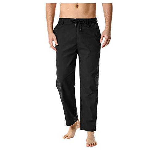 KIMODO Freizeithose Herren Hosen Leinen Baumwolle mit Seitentaschen Lässige Casual Leichte Elastische Taille Sporthose Loose Yoga Home Pants Jogginghose (A-Schwarz, M)