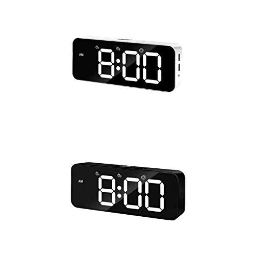 MERIGLARE Pantalla LED de Reloj Despertador Digital de 2 Piezas con Doble Puerto de Cargador USB Easy Snooze