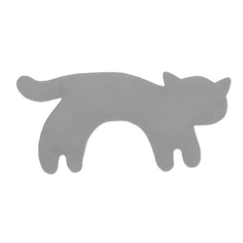 Leschi WÄRMEKISSEN lindert Bauchschmerzen/für Mikrowelle und Ofen/Körnerkissen für Kinder und Babys/Katze Minina, klein, grau schwarz