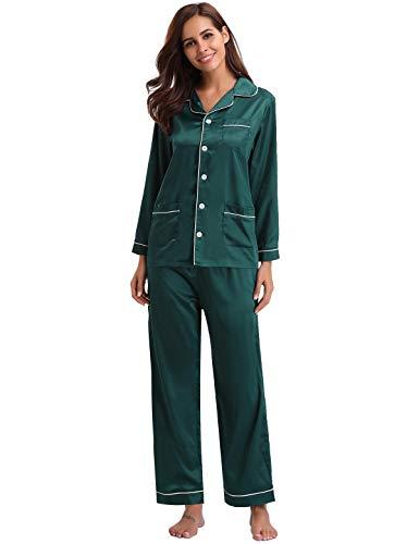 Abollria Pijamas Saten Mujer Manga Larga Set,Ropa de Dormir Elegante y Moda 2 Piezas