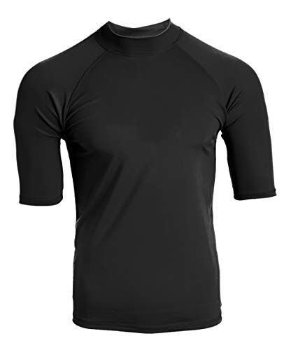 Kanu Surf Men's UPF 50+ Short Sleeve Sun Protective Rashguard Swim Shirt, Fiji Black, Large