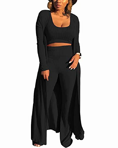 Women 3 Piece Outfits Ottoman Rib Open Front Cardigan Cover Up Crop Tank Tops Wide Leg Palazzo Pant Set Jumpsuit Black L