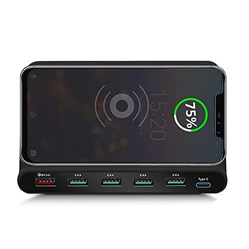 JUSTGJS Qi Wireless Charger 10w USB Estación De Carga USB Carga Rápida 3.0 Tipo C, para iPhone 12 Pro MAX XS, iPad Pro Air Mini, Samsung, Tablet Y Más