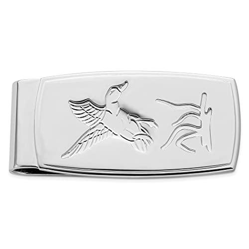 Clip de dinero con bisagras de pato volador grabado y satinado chapado en rodio sólido texturizado para regalo de joyería para hombres
