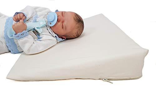 Cuña o almohada antirreflujo y anticólicos para bebé, desenfundable (con dos forros). Varios modelos y tamaños disponibles (Liso, Maxi cuna 70cm)