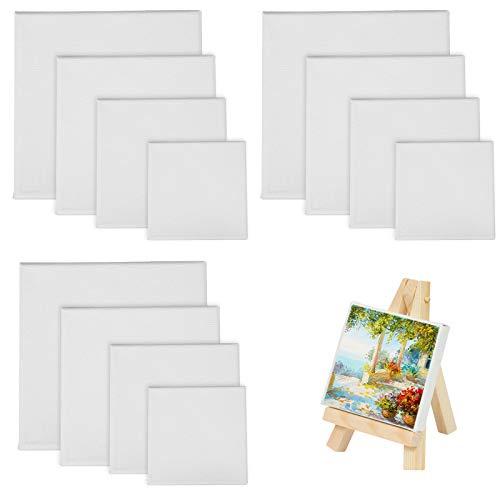 LAITER 12 Stücke Leinwandrahmen zum Malen Leinwand Malleinwand Quadratische Leinwände in Verschiedenen Größen Für Handwerk Malerei Zeichnung(10cm x 10cm, 15cm x 15cm, 20cm x 20cm, 25cm x 25cm)