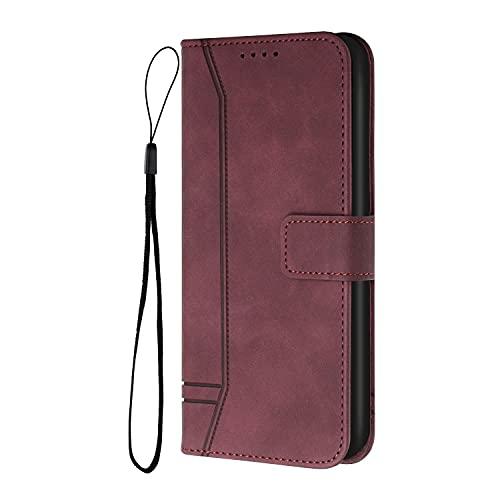 Hülle für Xiaomi Mi 9 SE, Vintage Hochwertige PU-Leder Brieftasche Schutzhülle, [Handgelenk Band], Herzförmige Geprägte Handyhülle für Xiaomi Mi 9 SE Hülle-Rot