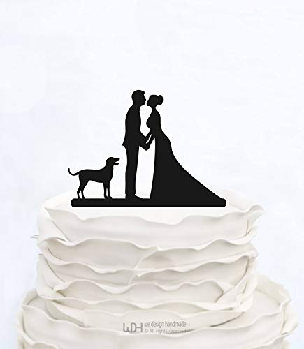 Decoración personalizada para tarta de boda con silueta de pareja de perro personalizada para novia y novio