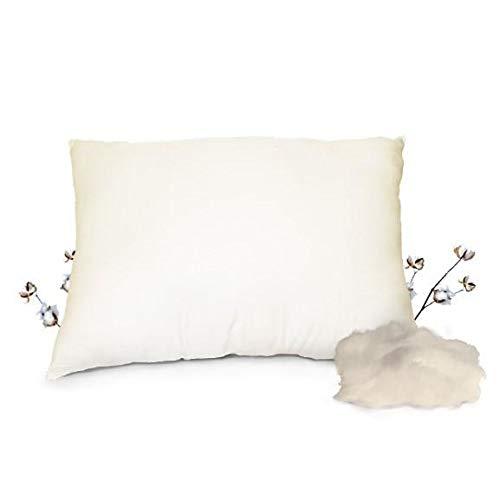 Organic Textiles Organic Pillow with Cotton Stuffing & 100% Cotton Pillow Protector, Standard Size (Medium Firm)