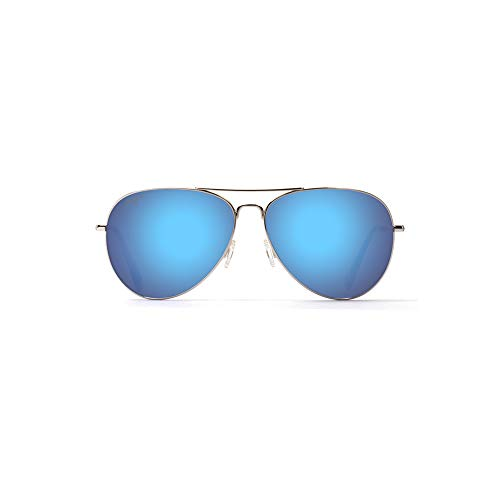 Maui Jim Mavericks B264-17   Polarized Aviator Frame Sunglasses, Silver covid 19 (Frame Womens Sunglasses coronavirus)