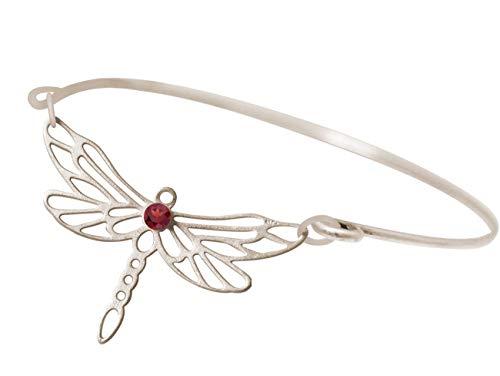 Gemshine Armband Libelle mit rotem Granat Edelstein in 925 Silber oder hochwertig vergoldeter Armreif. Nachhaltiger, qualitätsvoller Schmuck Made in Spain, Metall Farbe:Silber