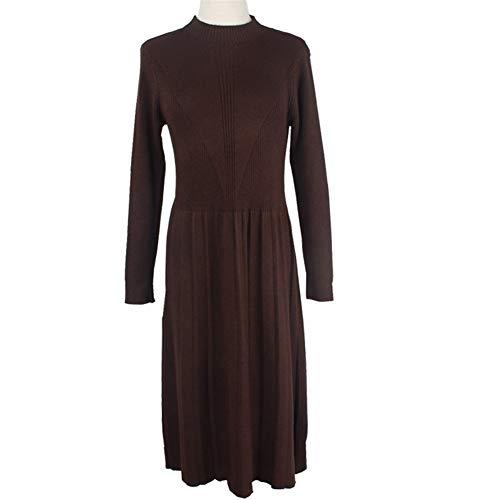 ERLIZHINIAN Damski sweter z długim rękawem sukienka jesień i zima golf sweter sukienka stretch dzianina gruba ciepła elegancka sukienka 2019 (kolor: Kawa bez guzika, rozmiar: Jeden rozmiar)