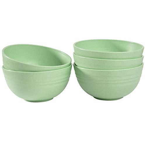 5 cuencos de cereales ligeros para niños, aptos para alimentos, 12 cm, irrompibles, para lavavajillas, microondas (verde claro)