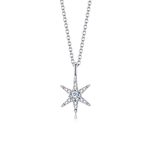 xinmeng Trendy Pendant Chain Necklace Maple Leaf Shape Shining Zircon 925 Sterling Meteor Silver Jewelry For Women Wedding Birthday Gift (Gem Color : 2, Length : 40cm)