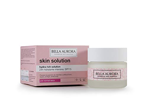 BELLA AURORA Hydra Rich Solution SPF 15 Crema Facial 24 H Hidratante Intensiva Tratamiento Anti-Edad Mujer para Piel Normal o Seca, 50 ml