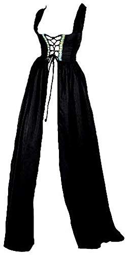 Abaowedding Womens's Medieval Renaissance Costume Cosplay Only Over Dress Large/X-Large Black