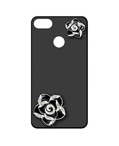 Sunrive Kompatibel mit ZTE Nubia Z18 Hülle Silikon,Glitzer Diamant Strass Handyhülle matt Schutzhülle Etui 3D Hülle Backcover (Schwarze Blume) MEHRWEG+Gratis Universal Eingabestift