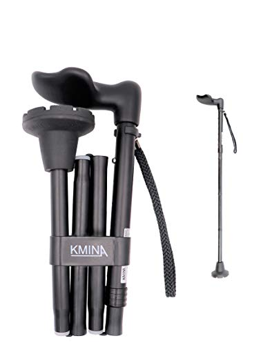 KMINA - Cane Ergonomic Handle (Left Hand), Ergonomic Cane Left Handed, Ergonomic Walking Cane, Ergonomic Grip, Folding Cane, Ergonomic Canes for Men Adjustable, Canes for Women, Palm Grip Cane.