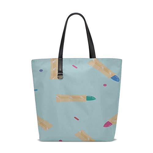 Tote Women Bags Handle Satchel Best Shoulder Bag Purse Messenger Bags Lunch Tote Bag For Women Beautiful Makeup Colorful Girl Lipstick Printing Ladies Tote Handbags