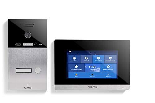 GVS IP Video Türsprechanlage mit 7 Zoll Monitor - Ideales Set für Einfamilienhaus & Wohnung - IP65 Klingel-Türstation mit 120° HD-Kamera, App-Steuerung, RFID - Modell AVS4035A