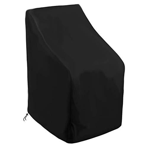 hj Housse de Chaise empilable pour terrasse avec évent, Coupe-Vent, imperméable, Anti-UV, résistant aux déchirures 600D Housse de Chaise de Jardin inclinable en Tissu Oxford 600D