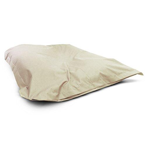 1buy3 Sitzsack Creme XXL 145cm x 180cm komplett befüllt | IN- und OUTDOOR | Waschbar da Sitzkissen mit Reißverschluss