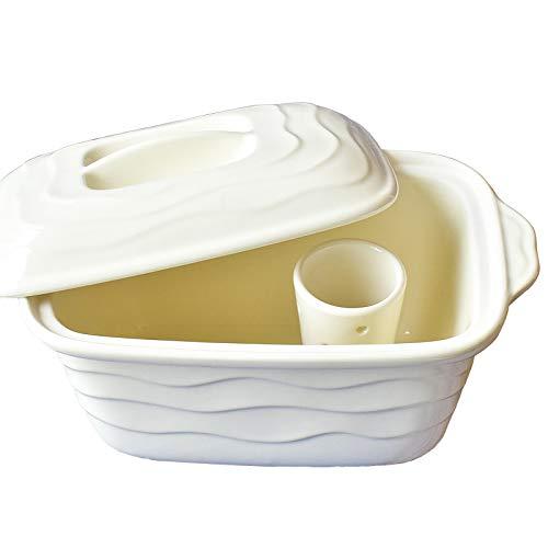 ホワイト ミニぬか漬け鉢 水抜付 日本国産 冷蔵庫可