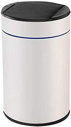 ZCRR Papelera de acero inoxidable, con tapa y 3 modos de sensor para baño (tamaño 8L, color: blanco)