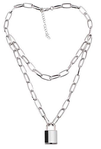 ZEEREE Y Lock Pendant Necklace, Punk Chain Choker Lock Pendant Necklace Alloy Choker Necklace Lock Chain Jewelry Long Multilayer Chain for Women Men