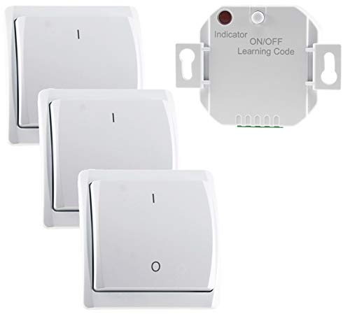 Funk-Schalter Set Pilota Casa 3x Funk-Wandschalter 230V Schaltleistung bis 2000 Watt Wechselschaltung für Schlafzimmer Kinderzimmer Wohnzimmer 70m Reichweite Weiß